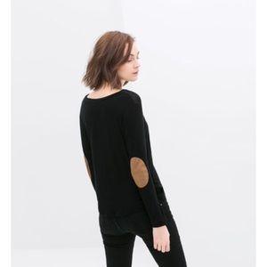 Zara Trafaluc Black Shirt with Elbow Patches